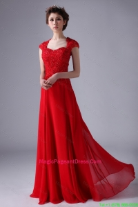 V Neck Lace and Red Pageant Dresses with Beading and Lace