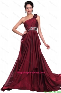 Wine Red Long Pageant Dress with Beading and Hand Made Flowers