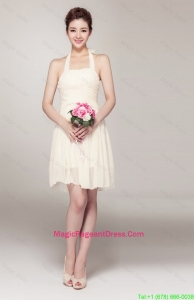 Beautiful Halter Top Short Pageant Dresses in Champagne