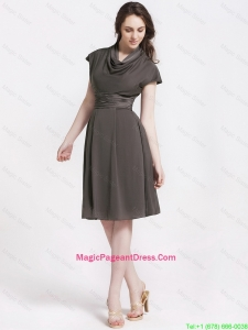 Discount High Neck Knee Length Pageant Dresses in Chocolate