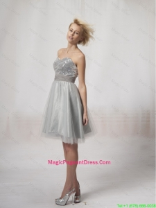 Wonderful Short Silver Pageant Dresses Sequins and Belt Silver for 2016