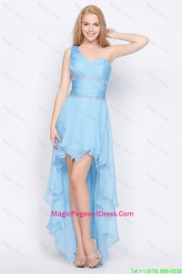 Affordable One Shoulder Beading High Low Pageant Dresses in Baby Blue