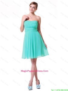 Discount Strapless Mini Length Pageant Dresses in Turquoise