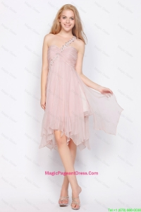 Luxurious One Shoulder Beading Pageant Dresses in Light Pink