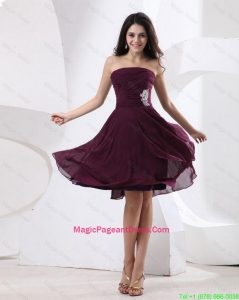 Luxurious Strapless Brown Short Pageant Dress with Appliques