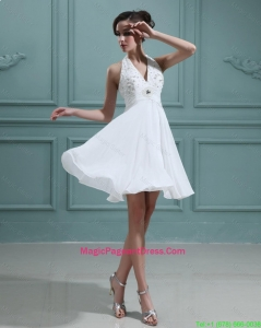2016 Cheap Empire Halter Top White Pageant Dresses with Beading