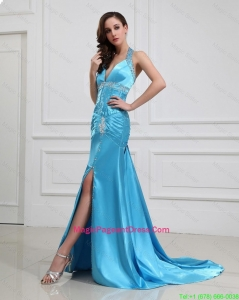 2016 Column Halter Top Brush Train Pageant Dresses with High Slit