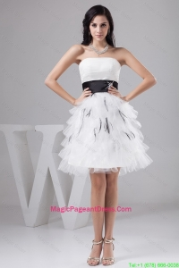 2016 Exquisite Belt and Ruffled Layers White Short Pageant Dresses