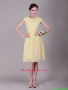 Beautiful Empire High Neck Cap Sleeves Pageant Dresses with Ruching
