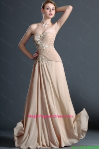 Classical Long Champagne Pageant Dresses with Appliques