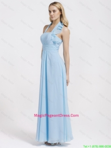 Gorgeous Halter Top Ruffles and Belt Baby Blue Pageant Dresses for 2016