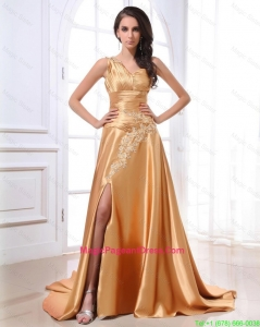 Gorgeous Ruching and Appliques Gold Pageant Dresses with Brush Train