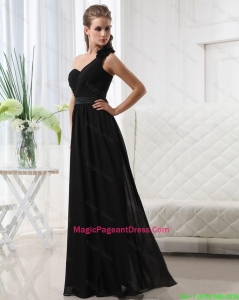 Modest Empire One Shoulder Pageant Dresses with Belt