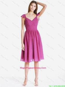 Perfect V Neck Ruching and Pleats Short Pageant Dresses