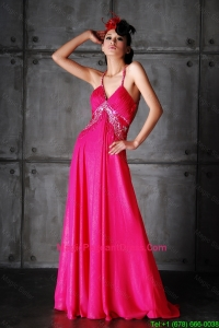 Pretty Empire Spaghetti Straps Criss Cross Pageant Dresses with Beading