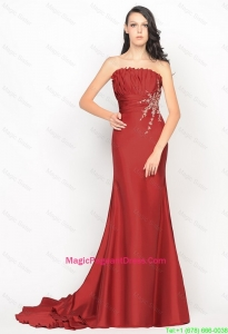 Beautiful Column Strapless Rust Red Pageant Dresses with Brush Train