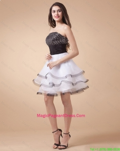 Beautiful Sequined White and Black Pageant Dresses with Mini Length