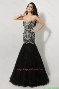 Luxurious Mermaid Sweetheart Beaded Pageant Dresses in Black