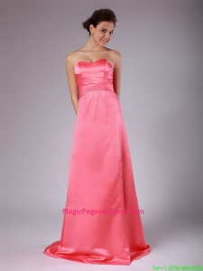 Luxurious Ruching Brush Train Pageant Dresses in Watermelon Red