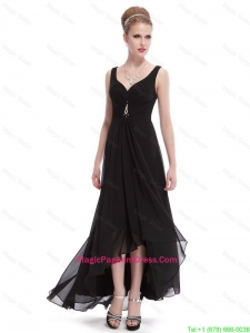 Popular Beaded Straps Black Pageant Dresses with High Low