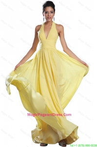 Fashionable Empire Ruched Yellow Pageant Dresses with Halter Top