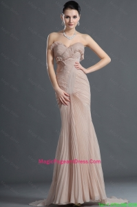 Gorgeous Mermaid Brush Train Pleats Pageant Dresses in Champagne