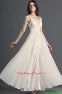 Perfect Straps Long Champagne Pageant Dress with Ruching for 2016