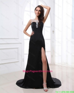 Romantic Column Scoop Beading and Sequins Pageant Dresses with High Slit