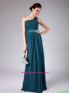 Popular One Shoulder Floor Length Pageant Dresses with Ruching