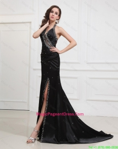 Classical 2016 Halter Top Black Pageant Dresses with Beading and High Slit