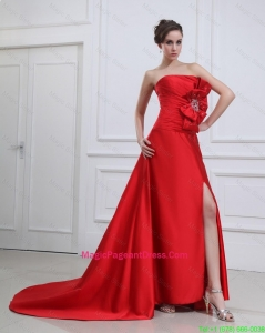 Exquisite Straples Beading and Bowknot Red Pageant Dresses with Brush Train