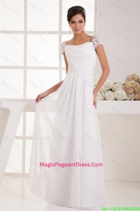 Most Popular Square Ruching Lace White Pageant Dresses with Cap Sleeves