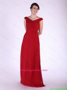 New Arrival V Neck Wine Red Long Pageant Dress with Ruching