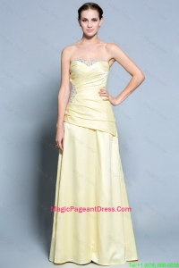 Wonderful Column Sweetheart Pageant Dresses with Beading in Light Yellow
