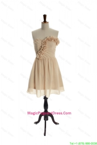 2016 Best Hand Made Flowers Short Champagne Pageant Dress for Homecoming
