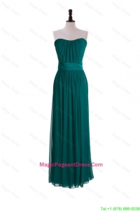 2016 New Style Empire Belt and Ruching Pageant Dresses in Dark Green