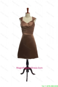 Cheap Ruching Short Pageant Dresses in Brown for 2016