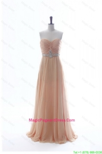 Most Popular Beading Long Pageant Dresses in Peach for 2016 Summer