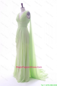 Romantic Empire V Neck Ruching and Pleats Pageant Dresses with Watteau Train