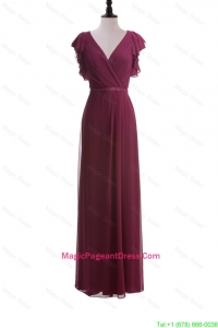 2016 Autumn Empire V Neck Pageant Dresses with Belt in Burgundy