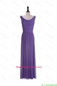 2016 Most Popular Scoop Eggplant Purple Pageant Dresses with Ruching