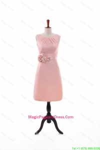 Beautiful Empire Scoop Pageant Dresses with Hand Made Flowers in Peach