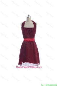 Beautiful Halter Top Belt Burgundy Short Pageant Dresses