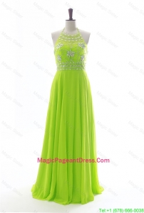Brand New Halter Top Spring Green Long Pageant Dresses with Beading