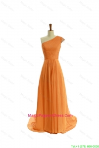 Gorgeous Ruching One Shoulder Orange Pageant Dresses with Brush Train 138.96