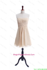 New Style Ruching Strapless Short Pageant Dress in Champagne
