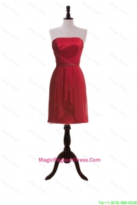 New Style Short Wine Red Pageant Dresses with Ruching