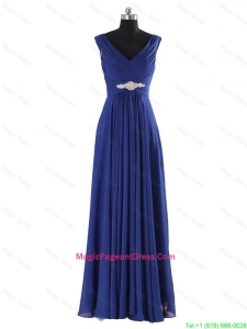 Simple V Neck Beading and Ruching Long Pageant Dresses for 2016 Autumn