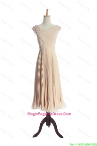 The Super Hot V Neck Pleats Pageant Dresses in Champagne for 2016
