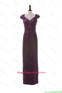 Cheap V Neck Belt Burgundy Long Pageant Dresses for Winter